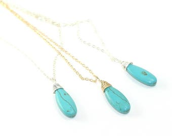 Turquoise Howlite wire wrapped drop necklace