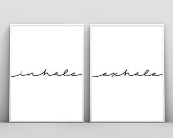 Inhale Exhale Print Typography Wall Art Black And White Minimal Quote Breathe