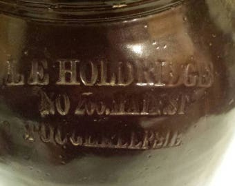 Vintage Late 19th Century  Advertising Stoneware Bean Pot for L.E. Holdridge No 266 Main St., Poughkeepsie.  No cracks. Sm chip outside rim.