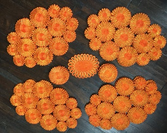Vintage Raffia Orange and Yellow Flower Placemats and coaster set