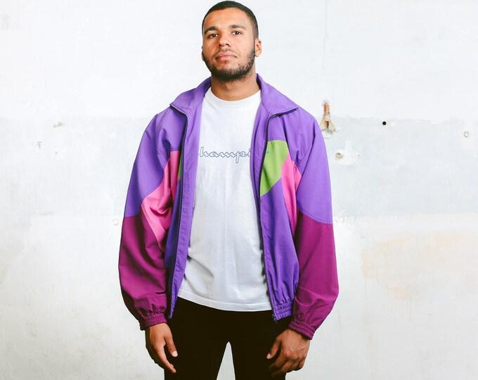 Vintage Shell Jacket . 90s Mens Wind Jacket Shell Jacket Windbreaker Purple Sports Jacket Outerwear Oldschool Activewear . size Large L