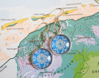 Delfts blauw Mandala oorbellen  6 keuzes  uit de Made in  Holland collectie
