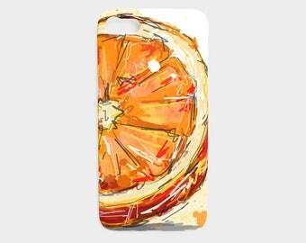 Cell Phone Case ORANGE / IPhone and Samsung / Light / Fine art / Handdraw