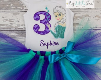 Personalized Ice Queen Birthday Shirt and tutu set- Girls Birthday Shirt -Elsa Birthday outfit