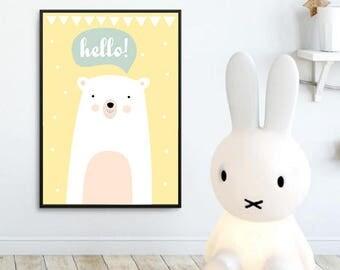 Nursery Wall Art Print,Kids Art Print,Digital Animal Nursery Print, Modern Nursery Decor, Bear poster, Kids room Printable, Instant download