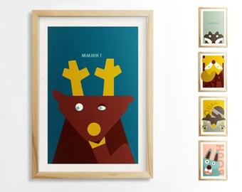 Children's illustration / animal poster / forest animal
