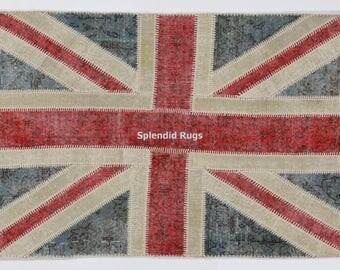 British Flag - Union Jack design Patchwork Rug, Handmade from overdyed distressed Vintage Turkish carpets. CUSTOM OPTIONS AVAILABLE   D531