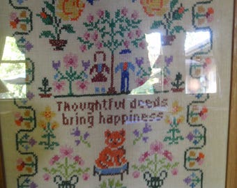 Vintage cross stitch sampler with verse