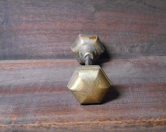 Brass Plated Hexagon Door Knob Set
