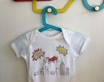 Super Dog Onesie!   Adorable baby clothing sizes 0 - 18m