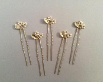Bridal hair pins, bridesmaid hair pins, leaf hair pins, pearl hair pins, flower hair pins, silver hair pins