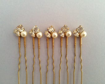 Bridal hair pins, bridesmaid hair pins, crystal hair pins, gold hair pins, pearl hair pins