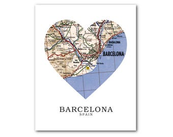 Barcelona Map Heart Print, Spain Map Art, Barcelona Spain Map, Heart Map Print, Spain Map Gift, Love Barcelona Art, 8 x 10 inches, Unframed