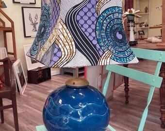 Lamp Akwaba Creations psyche blue and purple wax