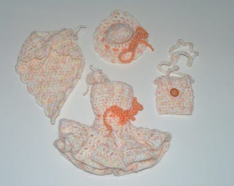 Dress Barbie in heathered hand made crochet White/Salmon, bag, hat and shawl
