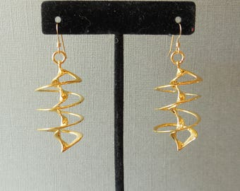 Auger  - 18KT Gold Plated Earrings Made with 3D Printing Technology.  Made-to-Order |  3d printed earrings