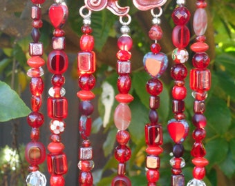 wind chimes, hanging crystals, windchime suncatcher, red, outdoor decor, BoHo gypsy, patio porch decor, garden decor, made in Australia