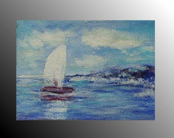 aceo card canvas art seascape painting mens gift for brother sea art original painting white sail painting coast art aceo art