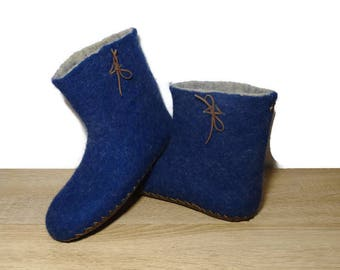 Felted Slippers Woolen Slippers Tall Slippers Men Slippers Blue Slippers Navy Slippers Warm Slippers Winter Eco Slippers Home House Shoes