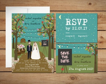 Wedding in the Woods Rustic Elegant Classy DIfferent Wedding Invitations save the date RSVP