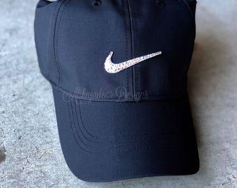 Black Nike Adjustable Training Hat with Swarovski Crystals