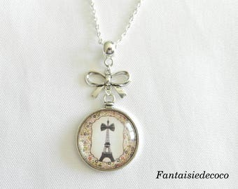 """Eiffel Tower and her bow"" necklace, glass cabochon"