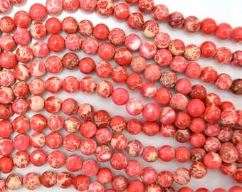 "6mm pink sea sediment jasper round beads 15.5"" strand 38424"