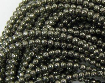 "3mm natural pyrite round beads 15.5"" strand 34167"