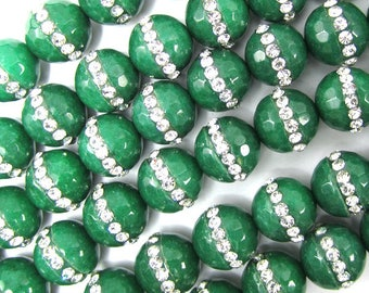 """10mm faceted emerald green jade round beads inlaid with rhinestone 7.5"""" strand 35071"""