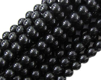 "8mm black shell pearl round beads 16"" strand 20039"