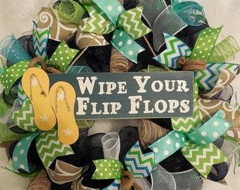 PRE-LABOR DAY Sale Summer Wreath, Beach Wreath, Beach Wreaths, flip flop Wreath, flip flop Wreath, Wreath, Wreaths, flop flops Wreath, Wreat