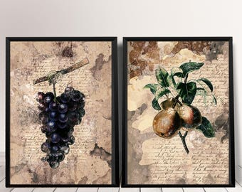 Botanical Fruit Wall Art Set Kitchen Wall Decor Set Fruit Printable Poster Botanical Prints Set Home Decor, Botanical Wall Art Printable Set