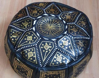 Oriental seat cushion Pouf floor Cushion stool Leather Pillow Ø 60 cm