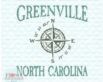 Greenville North Carolina NC Vacation Home State Latitude Longitude Compass Rose Nautical Location svg dxf eps ai files for cutting machines