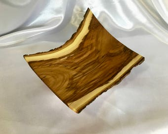 Hand turned wood bowl - maple with natural live bark edge - square angular modern design - dramatic statement centerpiece