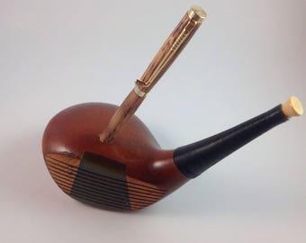 Golf Club Pen Holder with Whiskey Barrel Pen