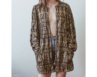 Vintage bohemian  egyptian jacket with gold metallic print / Boho bohemian overcoat kimono cardigan minimal gypsy