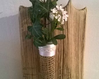 Medium driftwood, wire, Burlap, Ribbon and lace