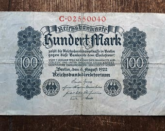 Old Germany Hundert 100 Mark Banknote 1922,Old German Banknote 100 mark