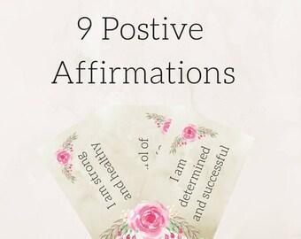 9 Positive Affirmation Cards   Printable Inspirational Cards - Affirmation Cards - Gratitude Journal - Inspirational Print