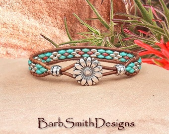 Turquoise Wrap Bracelet-Beaded Leather Bracelet-Southwest Bracelet-Custom Sizes-Turquoise Red Silver-The Skinny One in Turquoise n' Coral