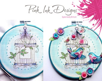 Embroidery pattern. Sewing kit, bird cage