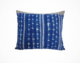 Shibori-Style Decorative Pillow made from Vintage African Indigo and Taupe Fabric 15x18 - Alia