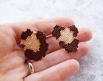 Brickstich Leopard beaded pins pair