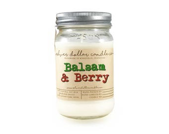 Balsam & Berry 16oz Scented Candle, Christmas candles, Fall Decor, Mason Jar Candles, Winter scents, Thanksgiving gift, christmas gift ideas