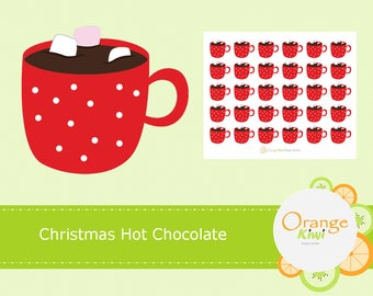 Christmas Hot Chocolate Stickers, Hot Cocoa Stickers, Planner Stickers, Christmas Stickers, Erin Condren Life Planner