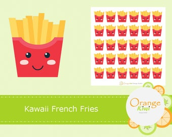 French Fries Planner Stickers, Fast Food Stickers, Kawaii Stickers, Planner Stickers