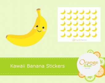 Banana Stickers, Kawaii Banana Stickers, Bananas, Fruit Stickers, Planner Stickers
