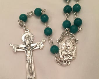 Turquoise Faceted Malay Jade Rosary