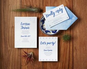 Talavera Pottery Spanish Tiles - Custom Letterpress Wedding Invitations Stationery Suite, Deposit Only